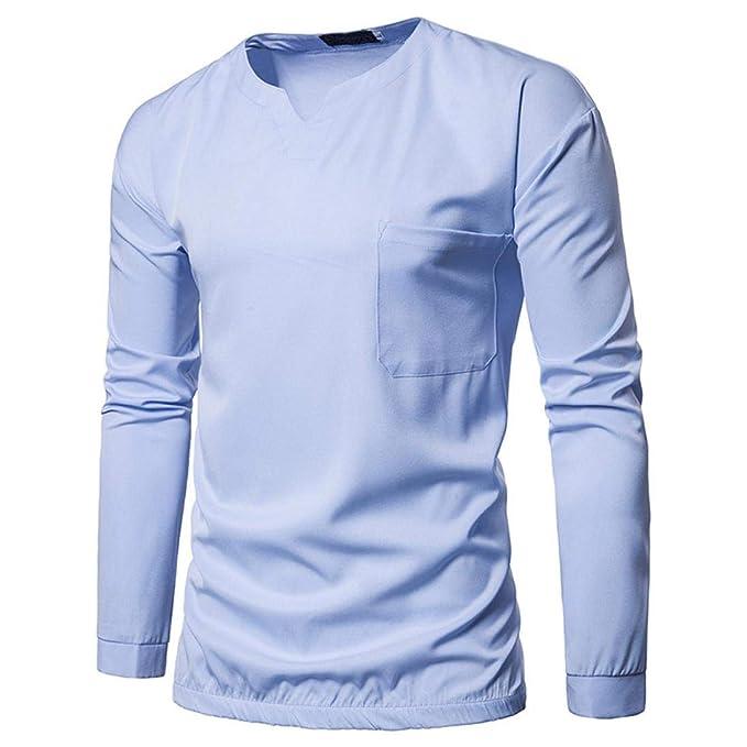 Camiseta Manga Larga para Hombre, Otoño Invierno Casual O-Neck Sueltos Blusa ❤️AIMEE7 Camisetas Hombre Manga Larga 100% Algodon: Amazon.es: Ropa y ...