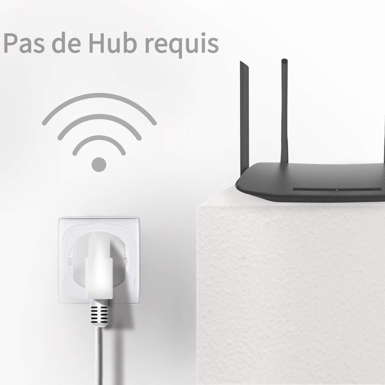 Prise Connectée Wifi 16A-3680W,ANOOPSYCHE Prise Intelligente Compatible avec Amazon Alexa Google Home IFTTT, Aucun Hub Requis, Prise Programmable Télécommande Réglage de Minuterie par App(Lot de 2)