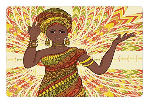 Ambesonne African Woman Pet Mat for Food and Water, Dancing Woman Hand Drawing Ethnic Geometric Ornament Colorful Print, Rectangle Non-Slip Rubber Mat for Dogs and Cats, Green Red Yellow