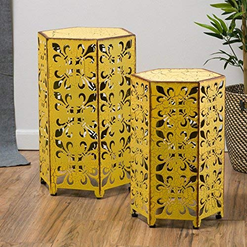 NEW (Set of 2) Antique Style Yellow Accent Side Table by Tables