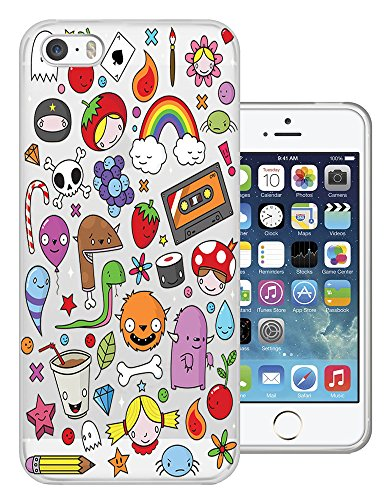 C0349 - Cute Cool Fun Kids Art Doodle Drawing Tape Monster Dinosaur Rainbow Skull Balloon Candy Kawaii Design iphone 4 4S Fashion Trend Protecteur Coque Gel Rubber Silicone protection Case Coque