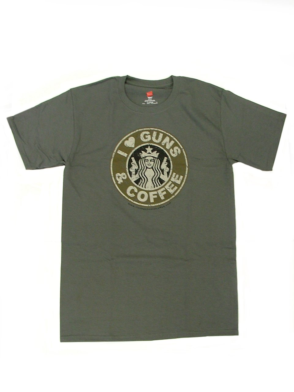 I Love Guns & Coffee T-Shirt with Subdued Logo