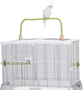 QBLEEV Bird Hemp Rope Perch Swing, Parrot Grinding Perches Cage Top Play Stands Playground Birdcage Accessories Rope Bungee Toys(Cage not Included)