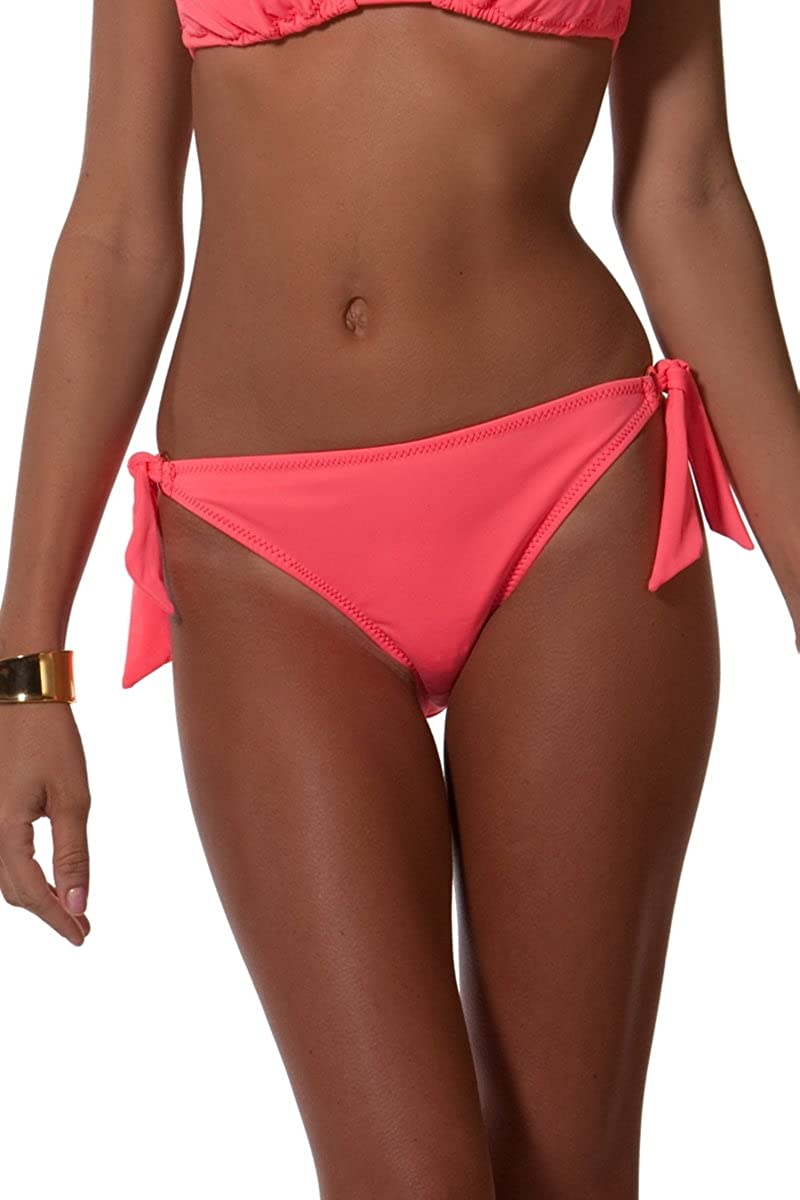 a2ce9c983142b Amazon.com  Women s Euro Side-Tie Bottom with Ring Detail Solid Coral  (Bottom Only Size L)  Clothing