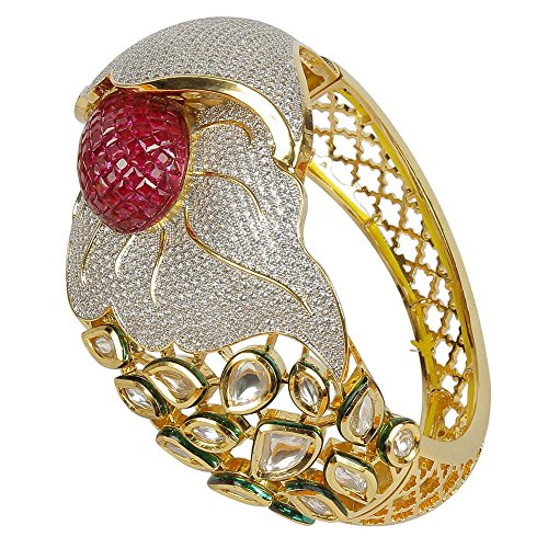 MUCHMORE Unique Style Cz Kundan & Ruby Gold Tone Diamond Swarovski Elements Indian Bangles Traditional Jewelry (2.6) by Muchmore
