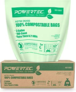 POWERTEC ASTM D6400 Certified Compostable Bags – 200 Count | 11.35 Liter - 3 Gallon Trash Bags, 0.71 Mil, US BPI and European OK Compost Home Certification - 100% Sustainable Green Products