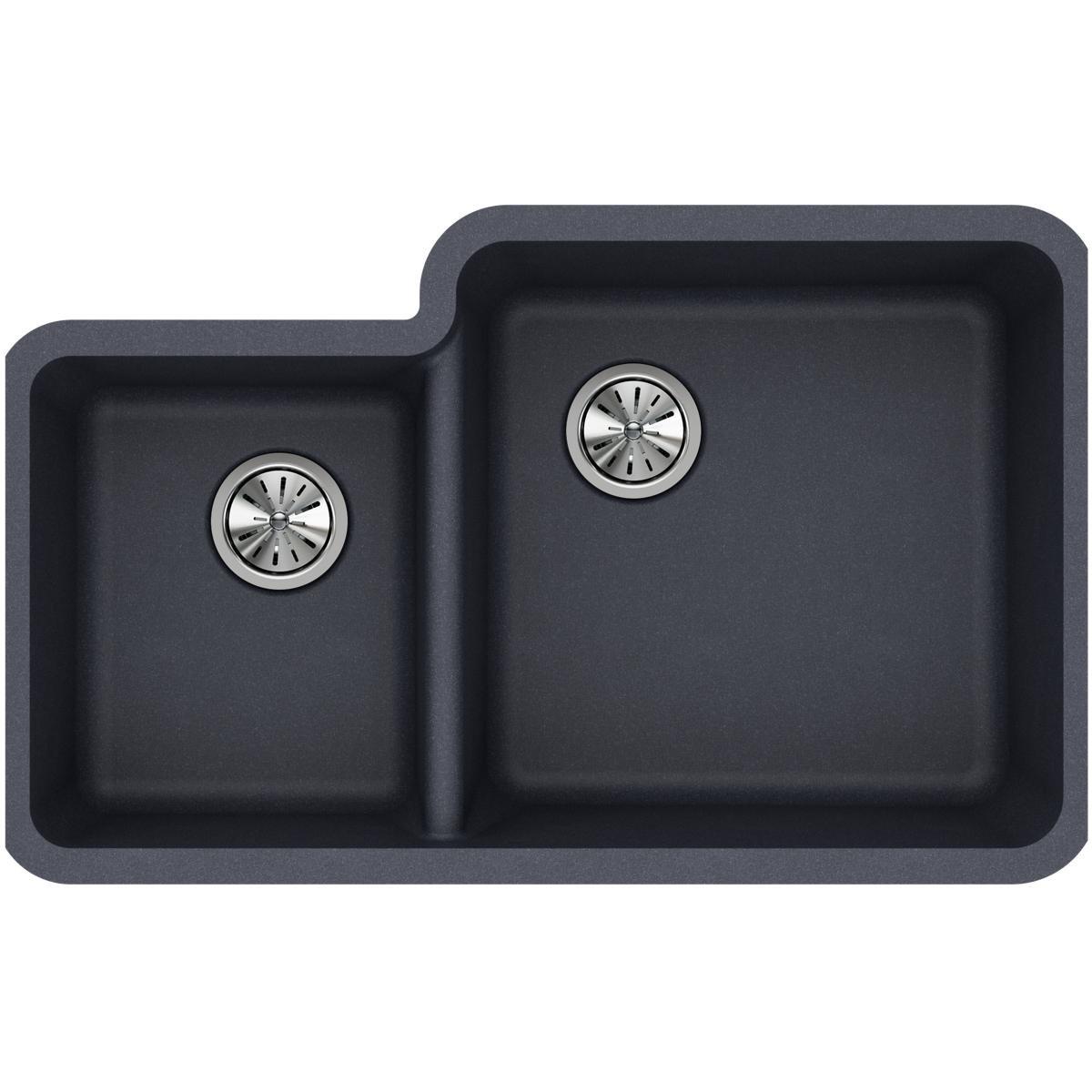 Elkay Quartz Classic ELGOU3321LGY0 Dusk Gray Offset 40/60 Double Bowl Undermount Sink