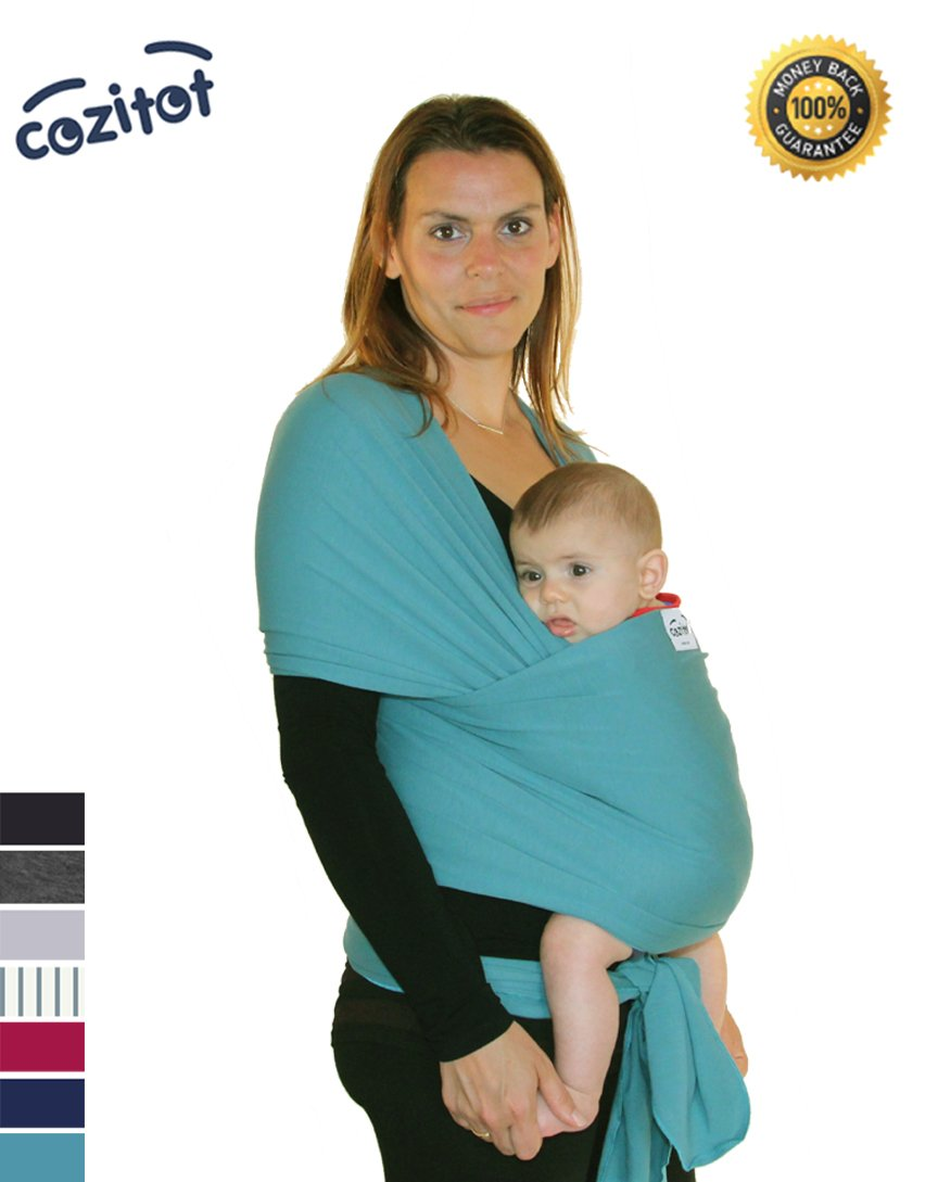Blue green (Aqua) Baby Sling Carrier Wrap by Cozitot | Extra Stretchy Baby Carrier