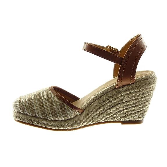 a3512b827e883f Angkorly Chaussure Mode Sandale Mule Lanière Cheville BI-Matière Plateforme  Femme Corde Tréssé Bicolore Talon Compensé Plateforme 9 cm  Amazon.fr  ...