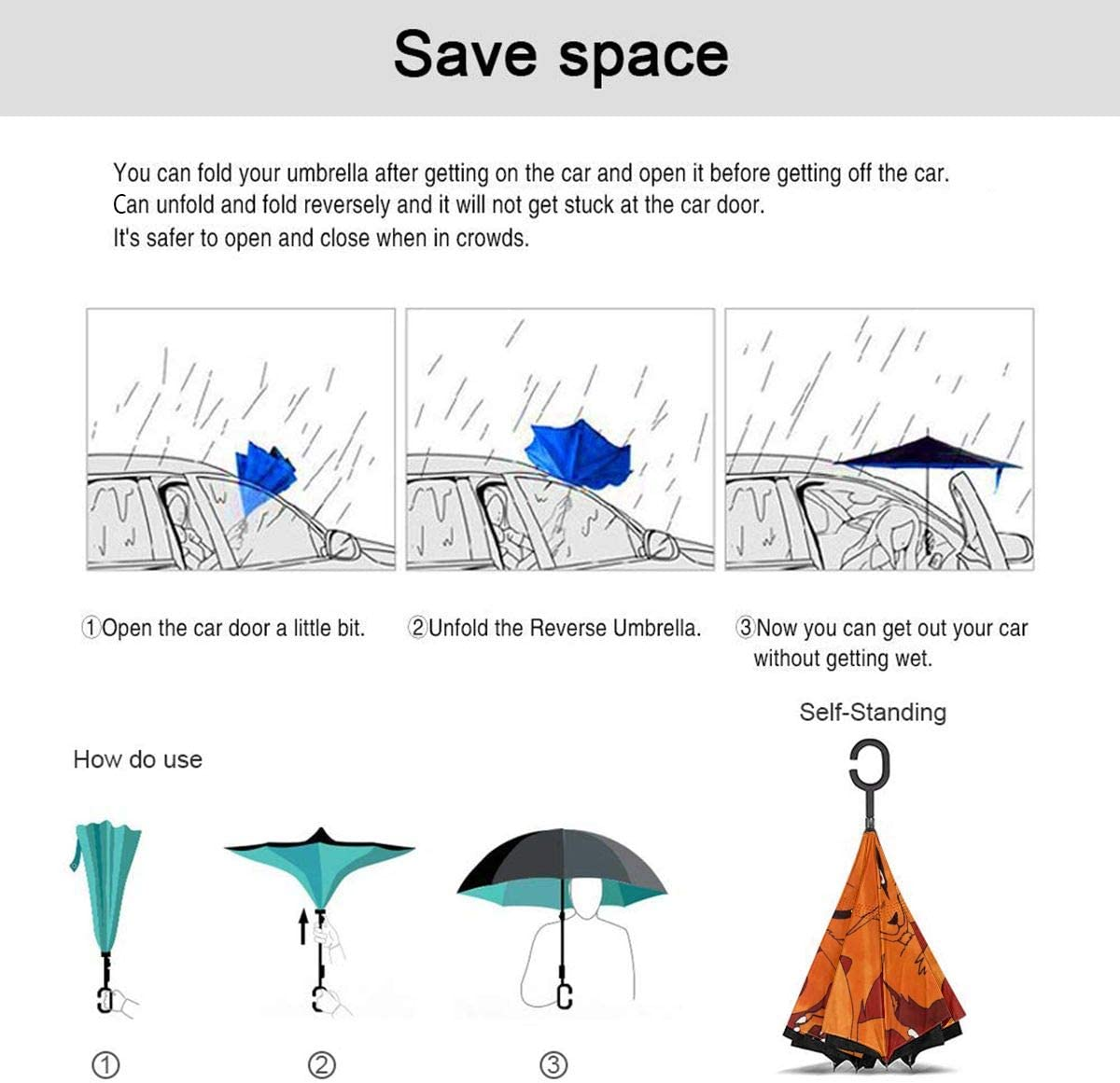 NARUTO Kyuubi Car Reverse Umbrella With C-Shaped Handle UV Protection Inverted Folding Umbrellas Windproof And Rainproof Double Folding Inverted Umbrella