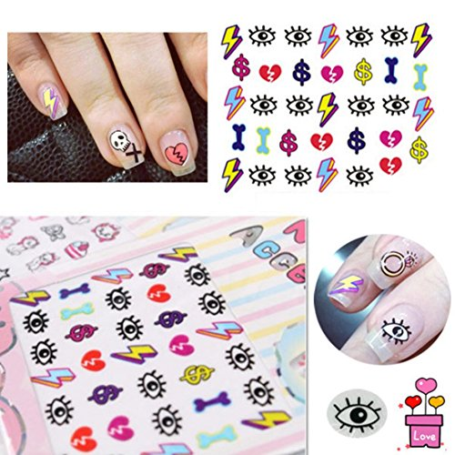 Lightning and Eyes 3D Mixed Design Decal Tips Decoration Nail Stickers