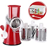 Rotary Cheese Grater Shredder Chopper Round Tumbling Box Mandoline Slicer Nut Grinder for Vegetable, Hash Brown, Potato with 3 Sharp Drums Blades and Strong Suction Base by Valuetool