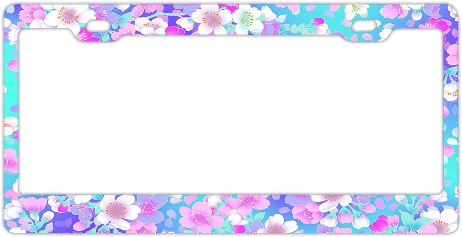 Beautiful Girly Vintage Flowers License Plate Frame Vintage Flowers Stainless Steel License Plate Covers for Us Vehicles Standard Car Tag Cover,License Plate Frame for Women