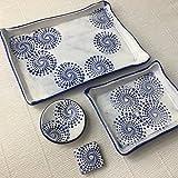 JANECKA Blue Dot Handmade Pottery ( 4 Piece Set ) Tray - Soap Dish - Ring Holder - Magnet