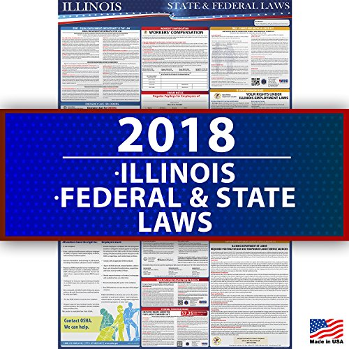 2018 Illinois State and Federal Laws Labor Poster - OSHA Workplace Compliant 36'' x 24'' - UV Coated by Compliance Audit Center (Image #5)