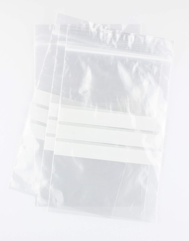 Bolsas autocierre con franjas para escritura 30 x 40 cm 100 Unidades
