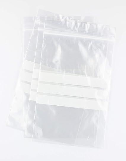 Bolsas autocierre con franjas para escritura 12 x 18 cm (100 Unidades)