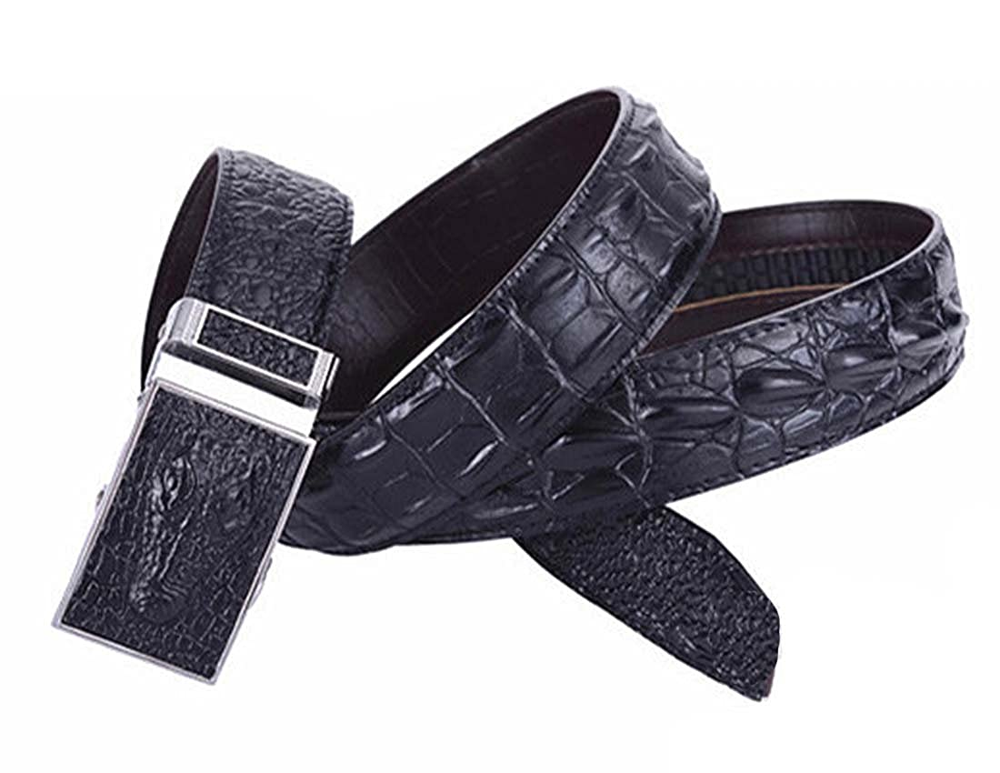 Nidicus Mens Casual 38mm Auto Removable Buckle Rachet Alligator Leather Belt