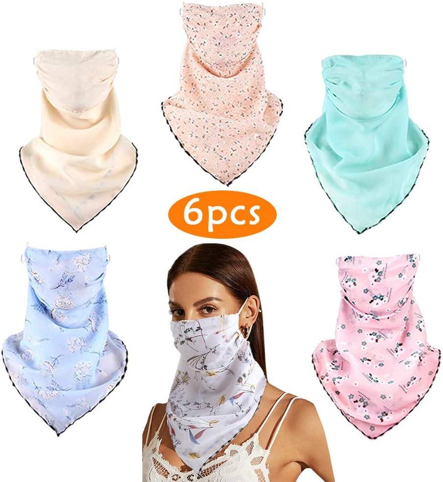 Cubierta de Cuello Gasa Antipolvo Pasamonta/ñas Bufanda Transpirable para el Cuello Mujer Protecci/ón Solar 6 Pzas Bufanda Facial Resistente al Viento M/áscara para Cabeza Actividades Aire Libre