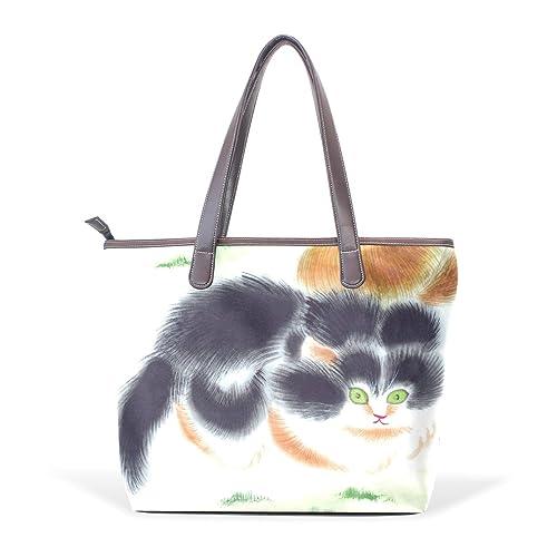 DEYYA Mujer Bolso del Gato Animal de Compañía Grande de Piel de Mano Sobre el Hombro del Monedero del Bolso de Compras de Wo: Amazon.es: Zapatos y ...