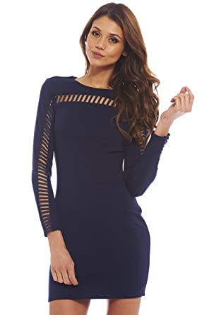 70dbe2af47cc Amazon.com: AX Paris Women's Long Sleeved Cut- Out Bodycon Dress: Clothing
