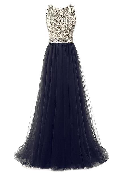 Callmelady Cuello Alto Vestidos de Fiesta Largos Vestidos de Noche Elegantes para Mujer (Azul Marino