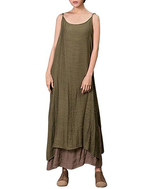 b58c9e53e6 ZANZEA Women s Linen Strap O Neck Fake Two Pieces Vintage Linen Sling Dress  Maxi Dress Sling