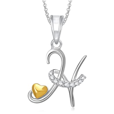 Amaal Jewellery Gold Plated U0027Hu0027 Letter Heart Letter Pendant With Chain In  Crystal Jewellery