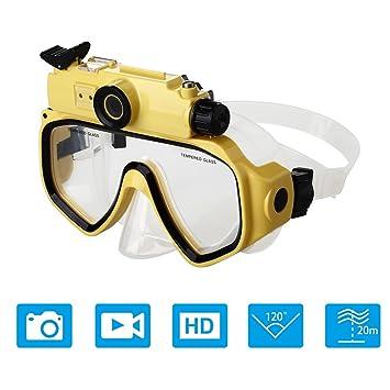 fadb2418ad0064 OMOUP Masque de Plongée avec la Monture de Caméra pour GoPro Masque de  Plongée de Natation