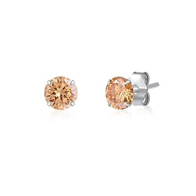 9b6dd837b SILBERTALE 925 Sterling Silver Champagne Cubic Zirconia 3mm CZ Stud Earrings  Men Women