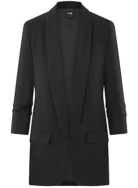oodji Ultra Womens 3/4 Sleeve No Closure Blazer, Black, 10