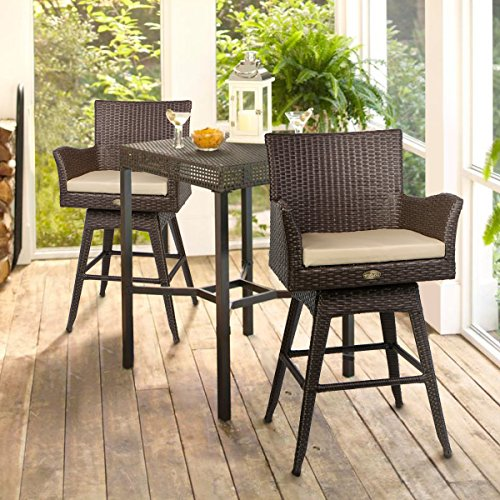 Barton Outdoor Patio Swivel Bar Stool Armrest with Footrest Rattan Crawford Sunbrella Weather-Resistant Fabric Cushion (Set of 2) (Outdoor Bars)