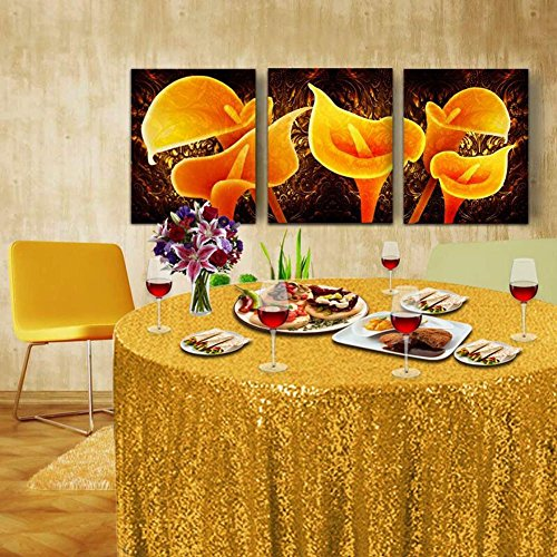 Fuloon Gold Sequin Table Runner Tablecloth Glitter Sequin Table Cloth Table Linens for Wedding Party Birthday Baby Showers (Golden(Round (Gold Elegance Round Tablecloth)