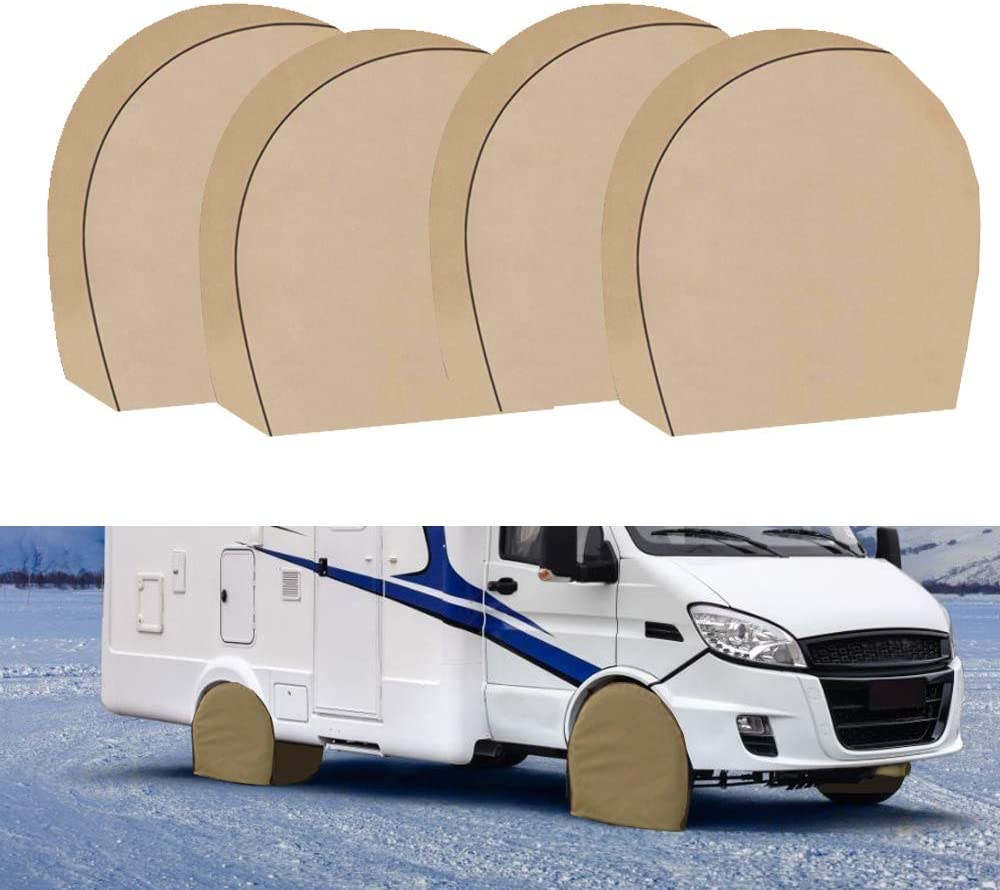 "Tire Covers for RV Wheel Set of 4 Heavy Duty 600D Oxford Motorhome Wheel Covers, Waterproof PVC Coating Tire Protectors for Trailer Camper Truck Jeep SUV Auto(600D 29' - 31.75"")"
