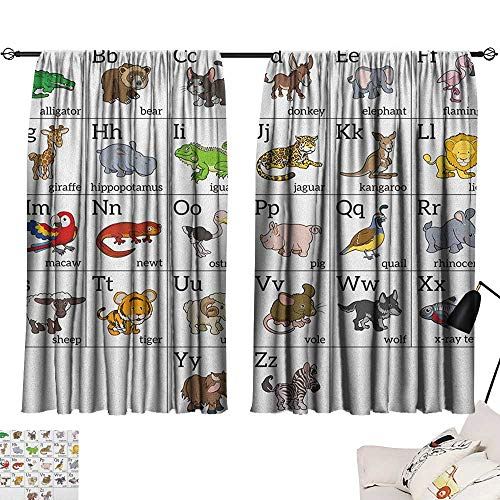 lace Curtains Educational,Alphabet Learning Chart with Cartoon Animals Names Letters Upper and Lowercase, Multicolor 72