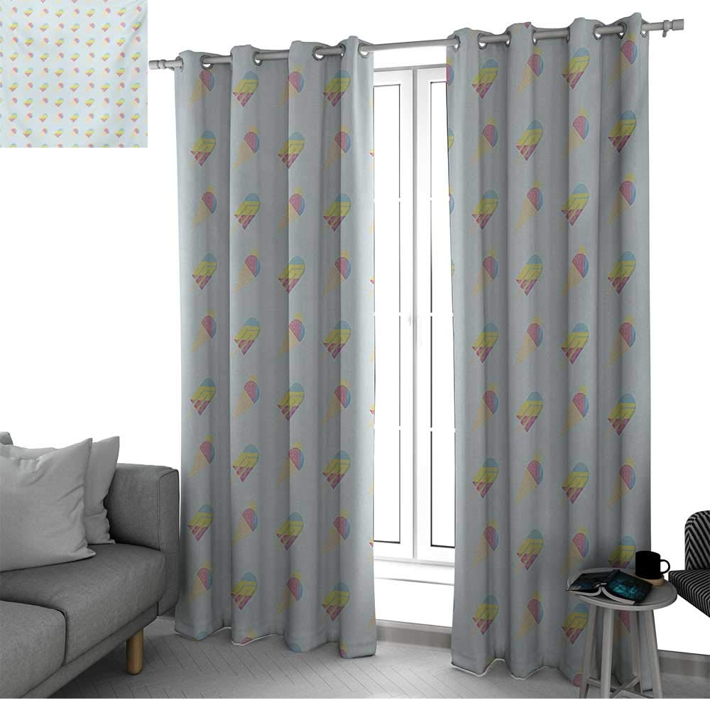 bybyhome Ice Cream Window Curtains for Living Room Pastel Colored Hipster Pattern with Abstract Ice Cream and Popsicles Summertime Drapes Panels Multicolor W84 x L84 Inch