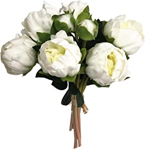Angel Isabella, LLC Real Touch Peony Bouquet - 6 Blooms 2buds PU Life-Like Realistic Touch Artificial Flowers for Decor, Wedding, Crafts (Ivory)