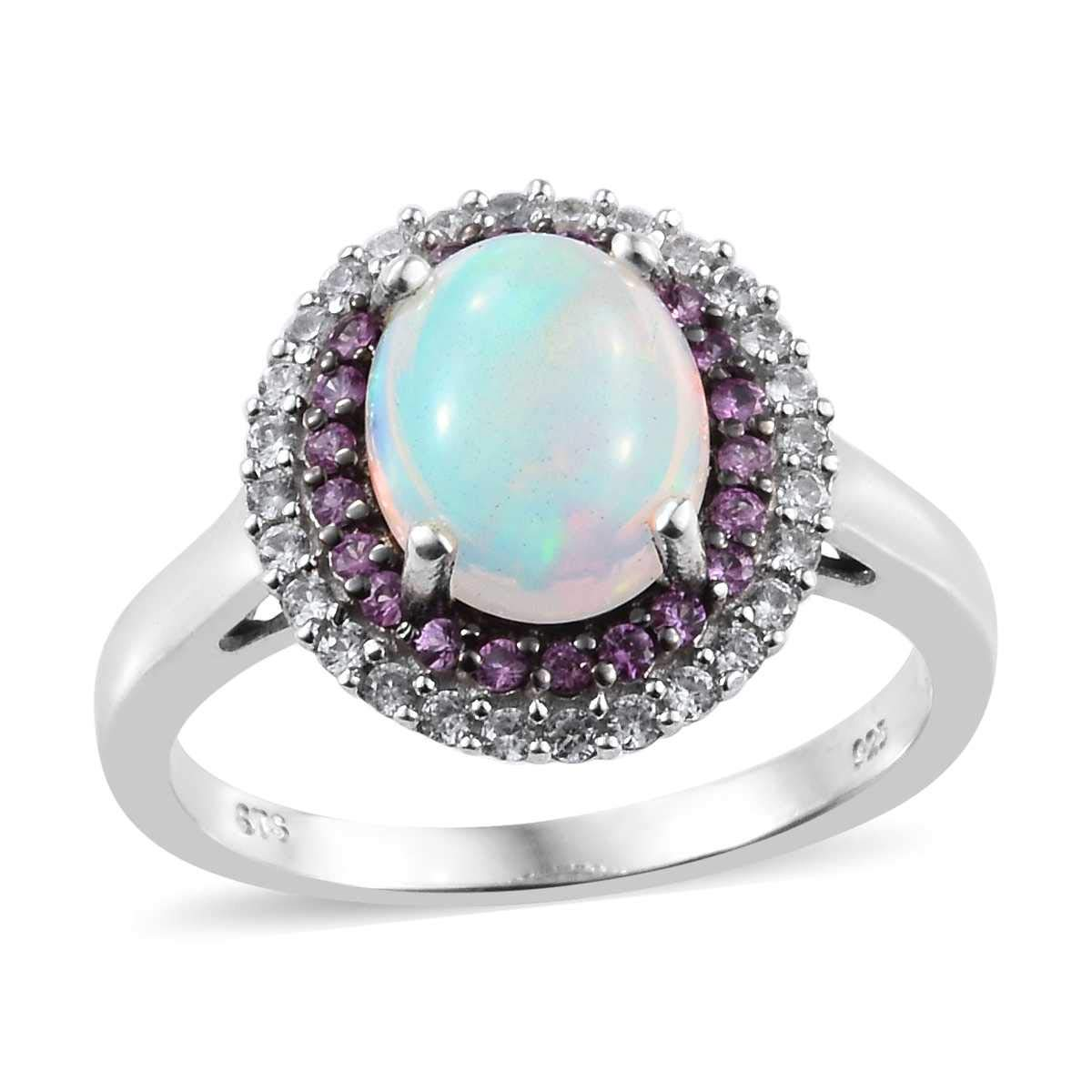 925 Sterling Silver Platinum Plated Welo Opal Pink Sapphire Ring for Women Size 9