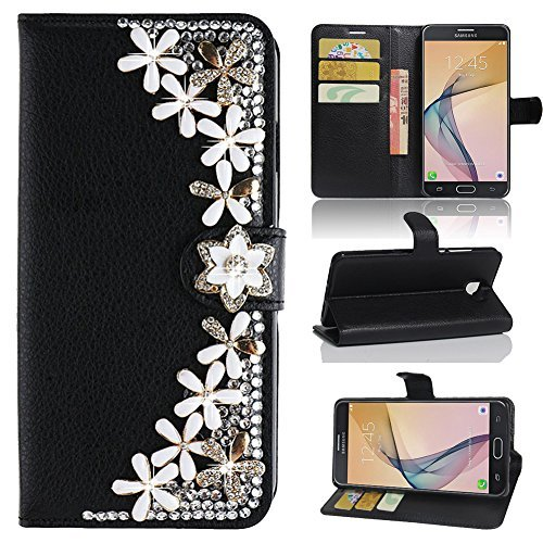 Galaxy J7 Prime Case , [Best Share] Luxury 3D Bling Diamond PU Leather Flip Stand Wallet Case & Holder Card Slot Protective Cover For Samsung Galaxy J7 Prime / Galaxy On7 2016 G610 , Black Flowers
