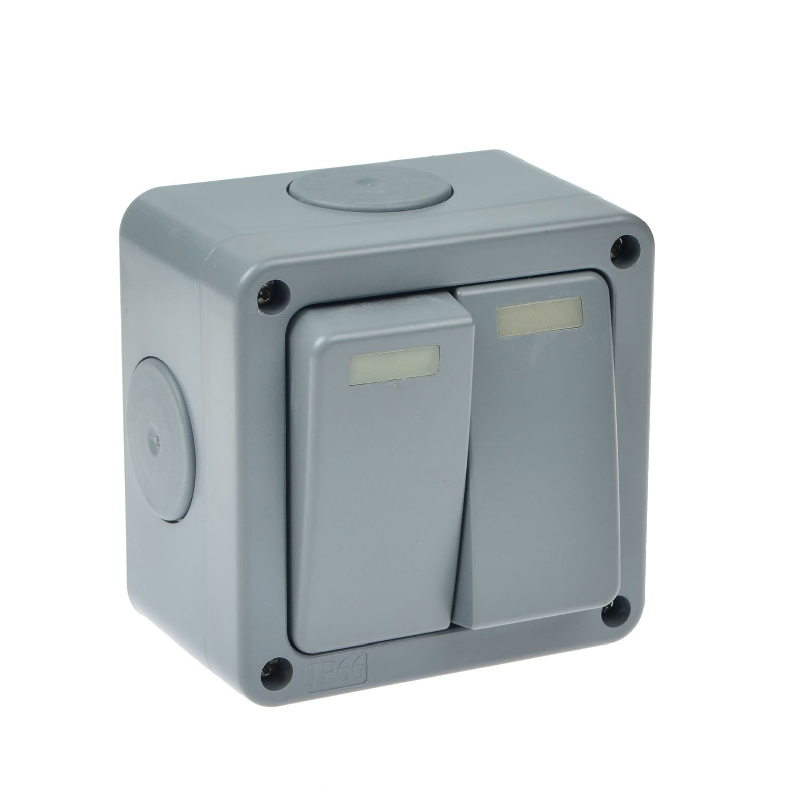 GREENCYCLE HO-035 Weatherproof 2 Gang 2 Way Dual Switch Socket IP66 Rated Wateproof with Multiple 20mm Cable Gland Entry for Outdoor Use, USA Type