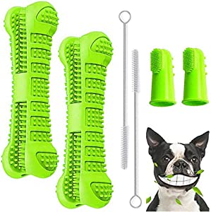 BAGEN Dog Toothbrush Stick 2 Pack - Dog Chew Toys for Small and Medium Breed - Doggie Dental Bone Brushing Food Safety Grade Natural Silicone pet Brush Bite-Resistant for Puppy Teeth Cleaning ¡­