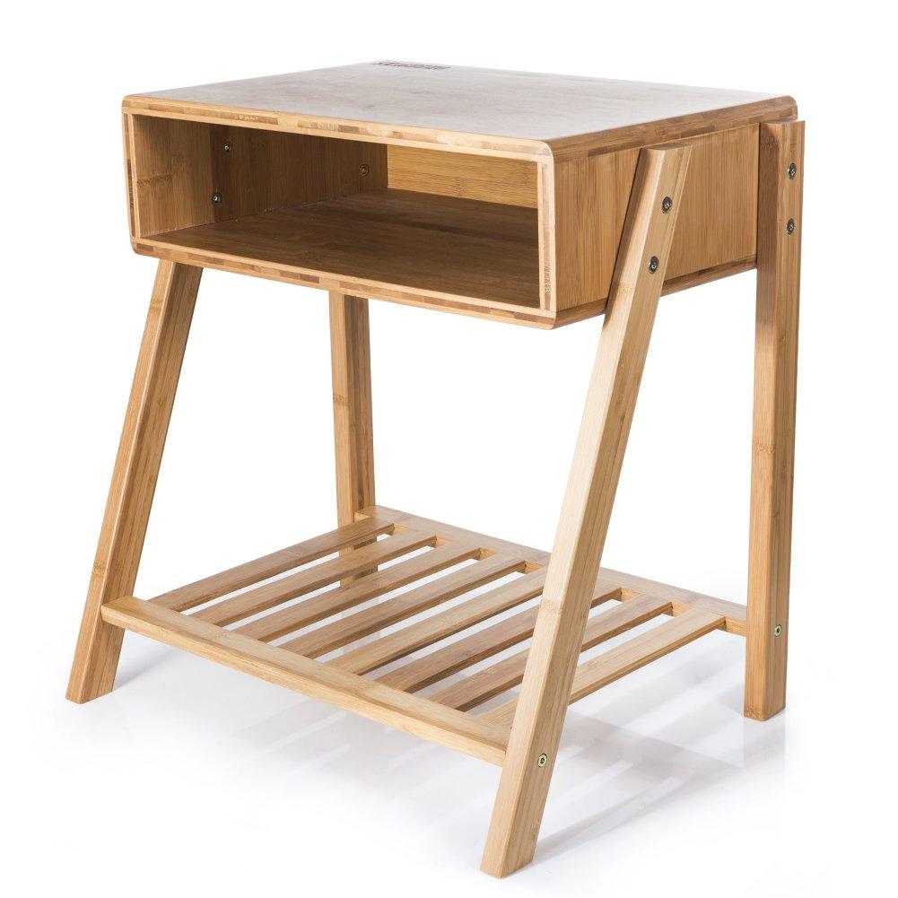 ナイトテーブル 天然竹製 サイドテーブル 高級品 チェスト 高さ50cm 机 ベッドサイドテーブル 組み立て式 B077G6PTTB