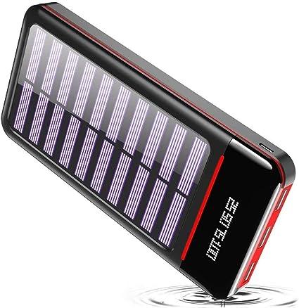 RLERON Batería Externa Cargador Solar Portátil 25000mAh, Power Bank ultra Capacidad con USB C & Micro 2 Entradas y 3 Puertos de Salida para ...