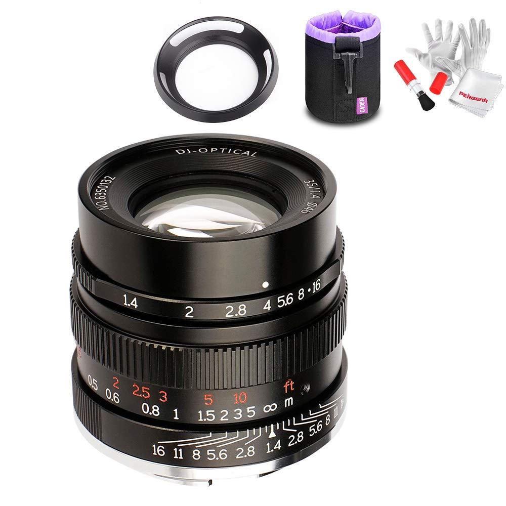7artisans 35mm F1.4 Full Frame Manual Fixed Lens for Sony E-Mount Cameras A7 A7II A7R A7RII A7S A7SII A6500 A6300 A6000 W/Lens Pouch Bag &Antistatic Gloves,Black by 7artisans