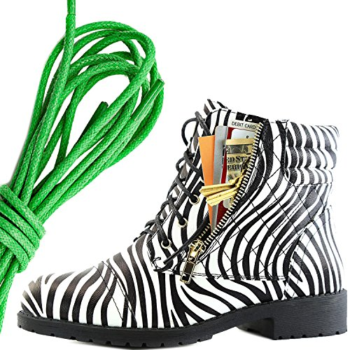 DailyShoes Womens Military Lace Up Buckle Combat Boots Ankle High Exclusive Credit Card Pocket, Green Zebra Pu
