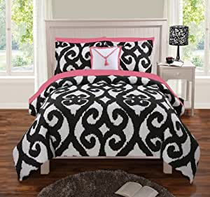 """SUPER SPECIAL: """" Elsy """" 8 Piece Reversible Comforter Set, Bed in a Bag Queen Size"""