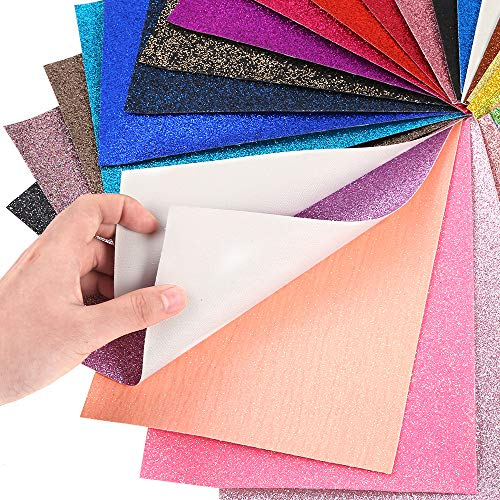 Caydo 36 Colors Shiny Superfine Glitter Fabric, PU Leather Fabric Sheets Canvas Back for Craft DIY, Hair Clips Making, Hat Making 6.3 x 8.3 Inch (16 x 21 cm) by Caydo (Image #2)