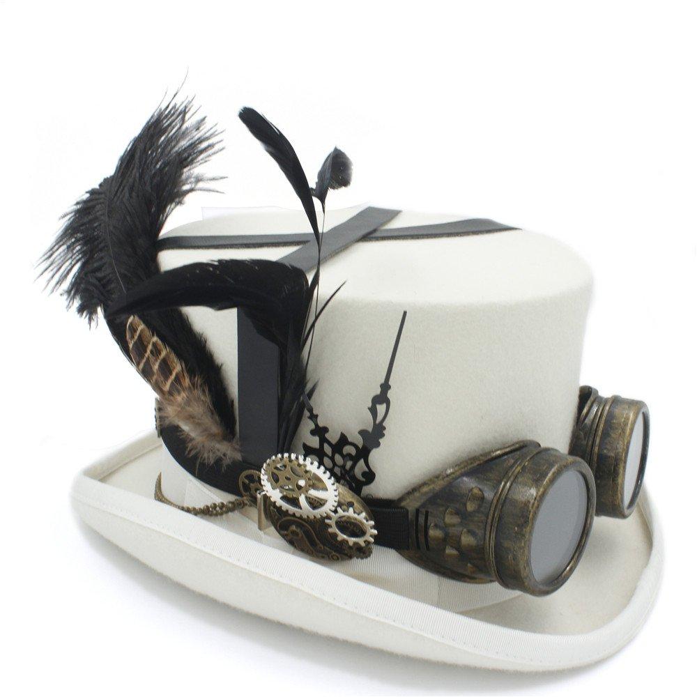 moda 3 57cm XHD-Sombreros Sombrero de Copa Copa Copa de Lana Fedora Steampunk Bricolaje para Mujeres Hombres Sombrero sombreador Steampunk Gafas Moda y Personalidad (Color   3, Talla   57cm)  orden en línea