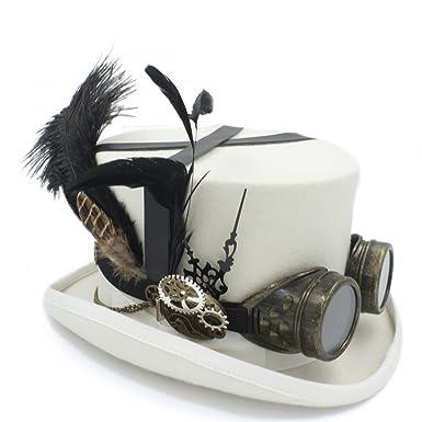 YQXR Moda Sombreros Conjunto de disfraces festivo Sombrero negro para hombre  con gafas Steampunk Sombrero de e81e210710f