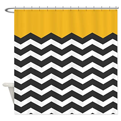 Image Unavailable Not Available For Color CafePress Yellow Black And White Chevron Shower Curtain
